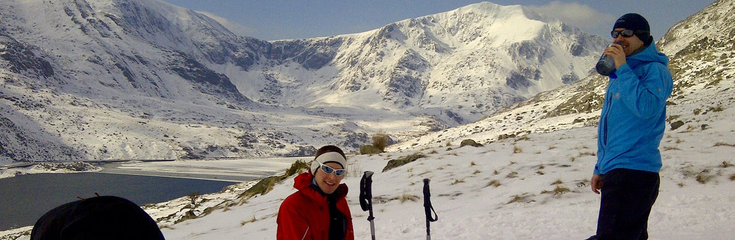 guided winter mountain hike snowdonia north wales